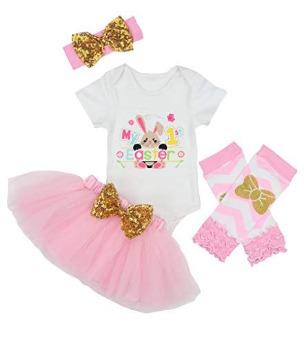 My 1st Easter Baby Girls Outfit Bunny Rabbit Romper Tutu Dress with Headband Onesie Skirt Sets 6-9 Months Pink