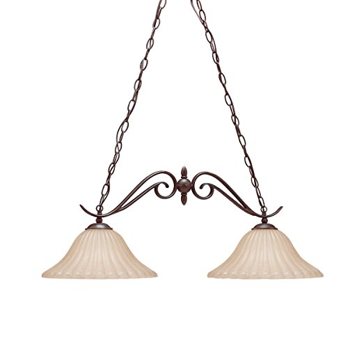 - Kichler 2929TZ Willowmore Island Chandelier 2-Light, Tannery Bronze