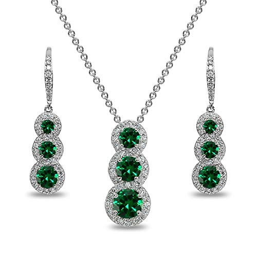 Sterling Silver Simulated Emerald Journey Halo 3-Stone Pendant Necklace & Leverback Earrings Set for Women