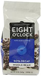 Eight O'Clock Coffee, 50% Decaf Whole Bean, 12-Ounce Bags (Pack of 6)