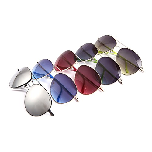 mujeres reflejada 100 Gafas protección aviador con UV las la del Protección clásicas superior Azul hombres de de sol qX6fCXwO