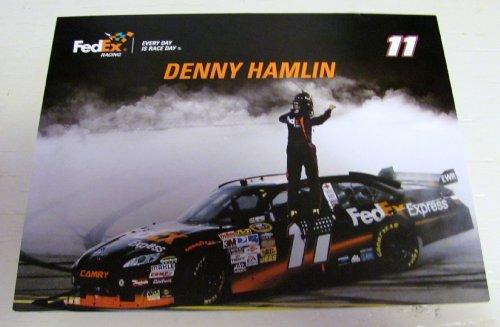 denny-hamlin-nascar-unsigned-racing-photo-card-8-1-2-in-x-110-in-sprint-car-11-fedex