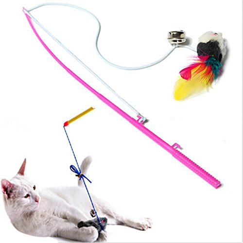 Pet Cat Bell The Dangle Faux Mouse Rod Roped Funny