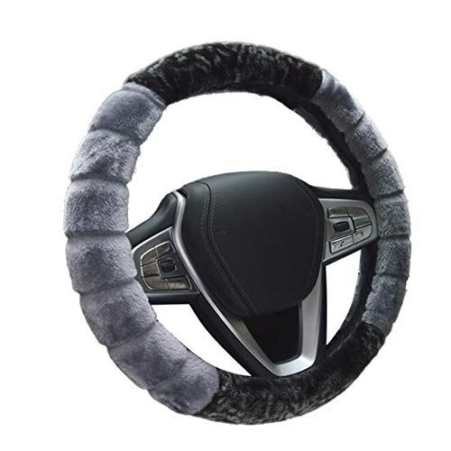 VCGREE Winter Warm Anti-Slip, Stitching Pattern, Slow Cushioning, Soft Padding, Steering Wheel Cover Universal 14.97Inch for Car Safety (Grey)