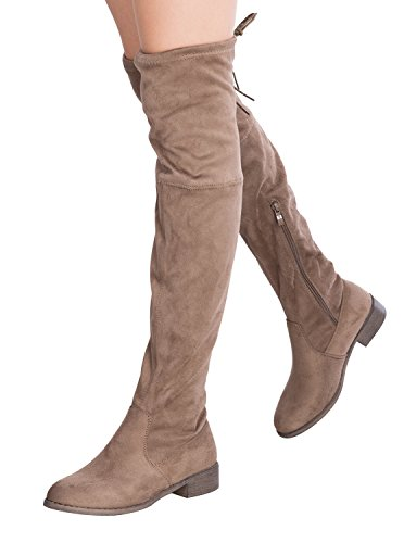 Sexy Halloween Boots (OLIVIA K Women's Sexy Over The Knee Thigh High Faux Suede and Leather Low Heel Boots)
