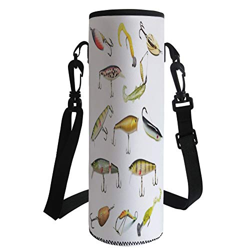 Water Bottle Sleeve Neoprene Bottle Cover,Fishing Decor,Fishing Tackle Bait for Spearing Trapping Catching Aquatic Animals Molluscs Design,Multi,Fit for Most of Water Bottles by iPrint