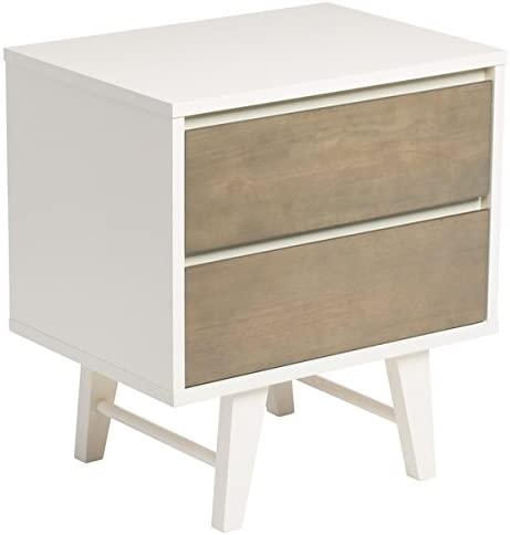 Mid-Century Madrid White Frame Rubberwood 2-drawer Nightstand