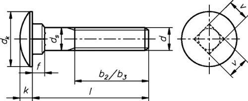 Edelstahl A2 Edelstahl Flachrundschrauben mit Vierkantansatz DIN 603 VE: 100 Stck M 6 x 65 MM Ohne Mutter
