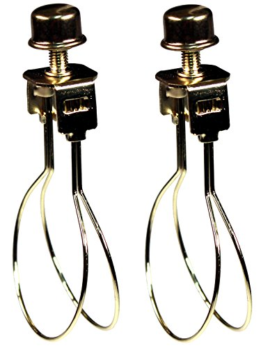 Creative Hobbies 2 Pack -Lamp Shade Light Bulb Clip Adapter Clip on with Shade Attaching Finial Top, Gold - Shades On Clip