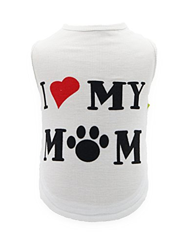 DroolingDog Pet Dog White Shirts Puppy Vest Sweater for Small Dogs, Small, White