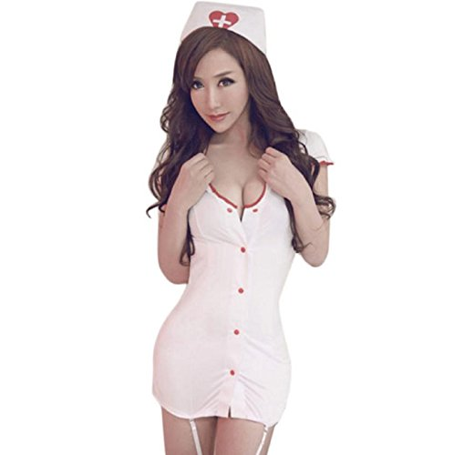 [Hot Sale! Women White Nurse Uniform Temptation Fashion Sexy Women Racy Underwear Dress With Hat (L,] (Nurse Costumes For Teens)