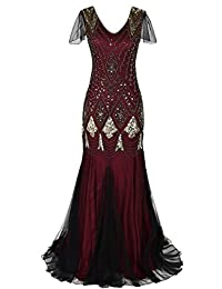 M MAYEVER 1920s Long Prom Gown Beaded Sequin Mermaid Evening Dress with Sleeve