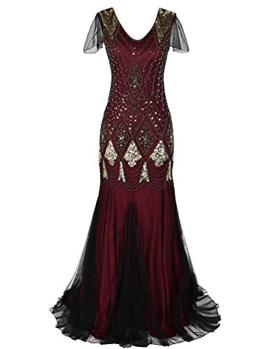 MAYEVER Women 1920s Long Prom Gown Beaded Sequin Mermaid Hem Ball Evening Dress with Sleeve (M, Gold Burgundy)