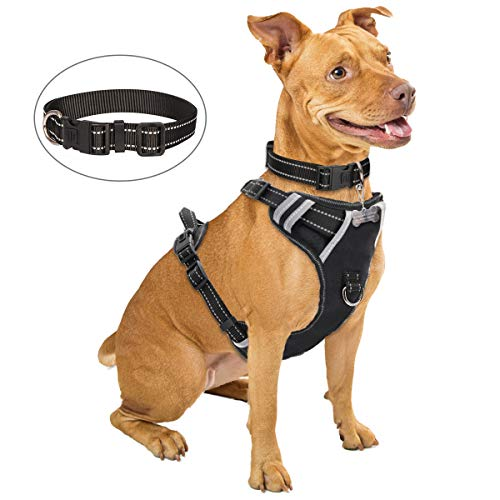 WINSEE Dog Harness No Pull, Pet Harness with Dog Collar, Adjustable Reflective Oxford Outdoor Vest, Front/Back Leash Clips for Small, Medium, Large, Extra Large Dogs, Easy Control Handle for Walking