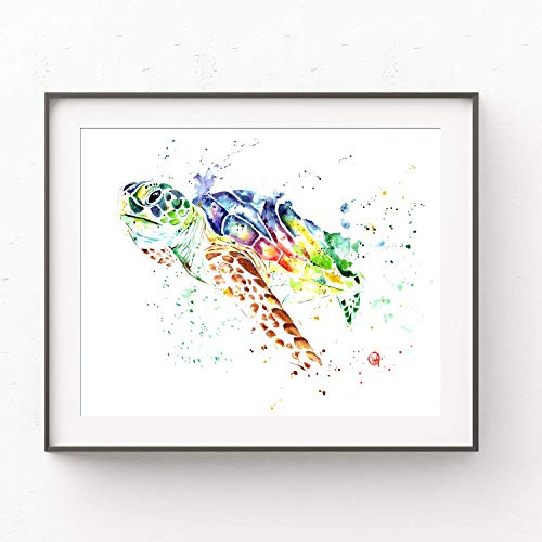 - Turtle Wall Art by Whitehouse Art | Sea Turtle Gifts, Sea Turtle Decor, Ocean Decor, Ocean Nursery, Kids Bedroom Decor| Professional Art Print of a Sea Turtle Original Watercolor Painting | 6 Sizes