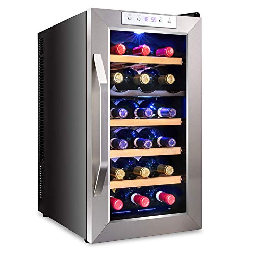 Ivation Premium Stainless Steel 18 Bottle Dual Zone Thermoelectric Wine Cooler/Chiller Counter Top Red & White Wine Cellar w/Digital Temperature, Freestanding Refrigerator Quiet Operation Fridge (Renewed)