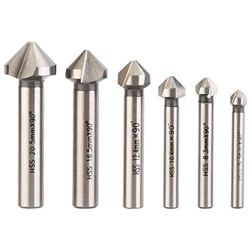 (3 Flute 90 Degree HSS Chamfering End Mill Cutter Bit Countersink Drill Bit Pack of 6pcs )