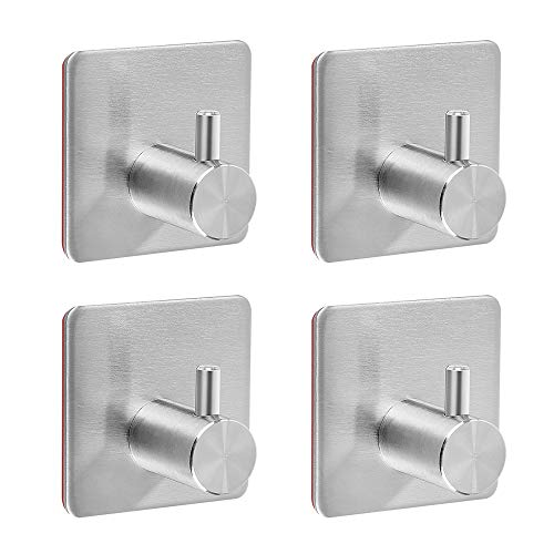 Self Adhesive Hooks, Heavy Duty Stainless Steel Key Hook Functional Hats, Coat, Robe, Towel, Brushed Bathroom Kitchen Hooks Hangers Wall Mounted, NO Drill, Waterproof (4 Packs)