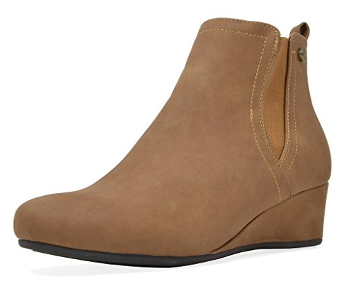 DREAM PAIRS Women's New Zoie Camel Low Wedge Heel Ankle Boots Size 5 B(M) US