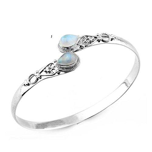 11.70gms,3.20ctw Genuine RainbowMoonstone .925 Silver Overlay Handmade Fashion Cuff Bangle Jewelry