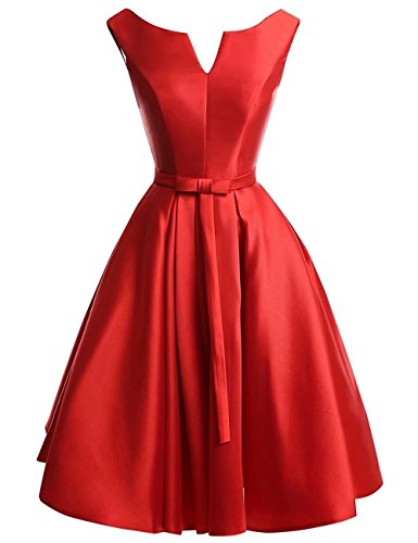 YOUTODRESS Women's V-Neck Lace up Bridesmaid Party Homecoming Satin A-Line Dreses ()