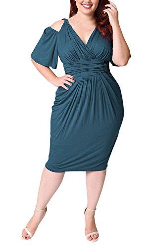 Abbigliamento Manica Spalline Estivi Moda Neck Lunghezzadi Corta Forti  Colore Senza Verde Vestiti Casuali A Vita Vestito V Solido Mid Partito ... 6e6d21c95ed