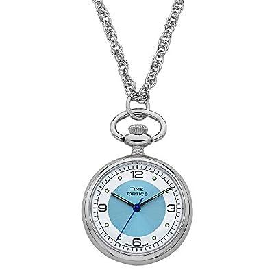 TimeOptics Women's Silver-Tone Quartz Pendant Watch Blue Sunray Dial # GWC1700B
