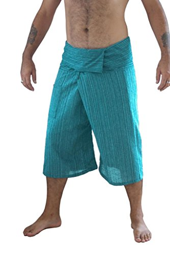 Siam Secrets 100% Cotton Pinstripe 3/4 Capri Thai Fisherman Pants Plus - Hose Fmp