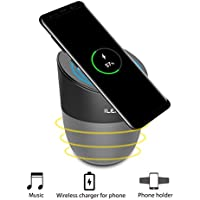 Inepo Wireless Charging Speaker 2500 mAh, Portable Qi Wireless Bluetooth Outdoor Speakers 7 Hrs Playing Time HD Sound Enhanced Bass Lightweight Wireless Phone Charger and Speaker