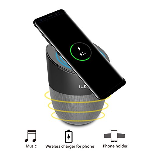 【Special Sales】 Wireless Charging Speaker with Bluetooth, Magnetic Mobile Phone Holder and Charger for iPhone Samsung Galaxy and Other Qi Enabled Devices (2500 mAh) by Inepo