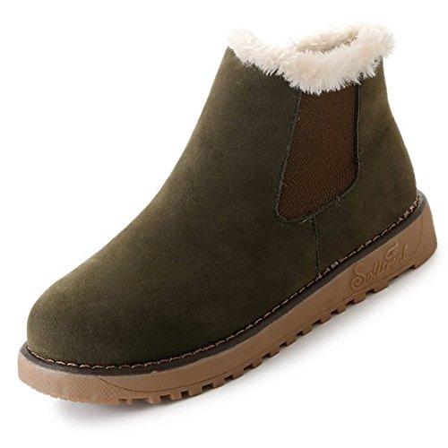 ZHZNVX HSXZ Zapatos de Mujer PU Primavera Otoño Comodidad Botas para el ejército Exterior Negro Marrón Verde,Verde,ejército US6/UE36/UK4/CN36 Army Green