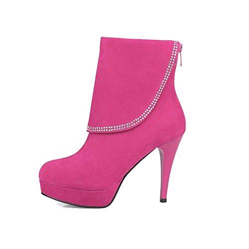 AgooLar Damen Eingelegt Hoher Absatz Reißverschluss Rund Zehe Stiefel Rosa