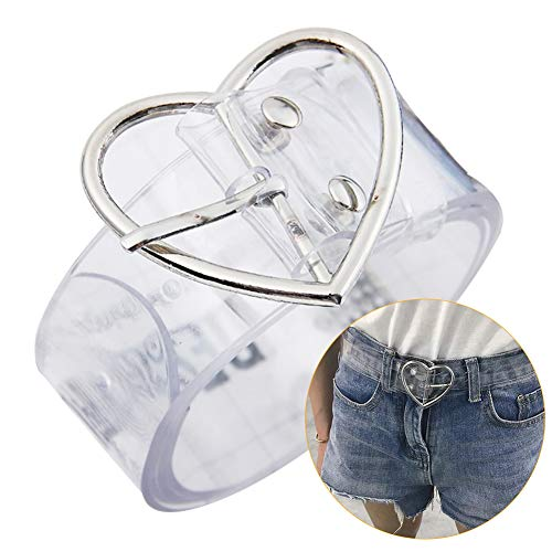 ANKIKI Women's Transparent Waist Belt Heart Buckle Invisible Belt PVC Clear Color Wedding Dress Accessories Jeans Waistband,Heartbuckle,100cm
