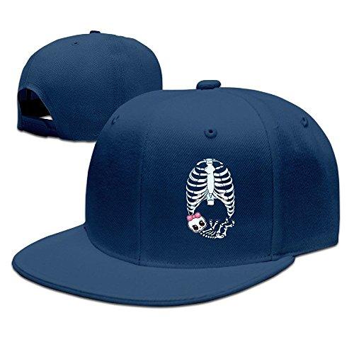 [Runy Custom Baby Girl Skeleton Pregnant Adjustable Baseball Hat & Cap Navy] (Pregnant Basketball Costume)