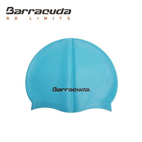Barracuda Accessories FLAT SILICONE CAP (Standard Logo) - Waterproof Durable Silicone, Solid Color, Comfortable Lightweight Professional for Adults Men Women Teens (Light Blue)