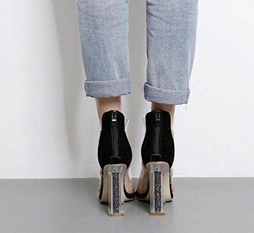 Schwarz Schwarz Damen Heel Dicke High Peep Transparente Sandalen Sexy Kleid Damen Toe Party Arbeit PVC Schuhe Kristall Nachtclub T7dAzq4w