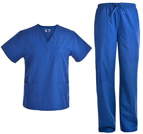 Unisex V Neck Scrubs Set Medical Uniform - Women and Man Nursing Scrubs Set Top and Pants Workwear JY1601 (Royal, L)