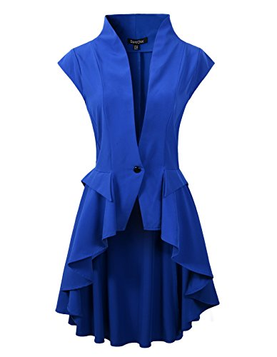 DarcChic Womens Gothic Steampunk Tail Vamp Long Victorian Waterfall Waistcoat Jacket Top (US4, Blue)