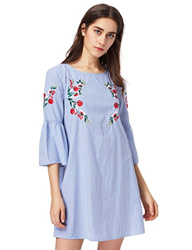 Floerns Women's Bell Sleeve Embroidered Tunic Dress Blue XS ()