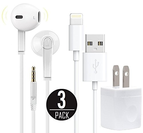Premium Earphone Headphones with Stereo Mic & Remote Control with 5W 1A USB Travel Wall Charger & Lightning to USB 3 Feet Cable for iPhone, iPad, iPod, Smartphones,Tablets, Devices with 3.5mm and More (Samsung Galaxy Mega 2 Headphones)