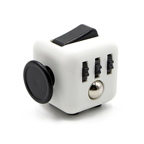 Oliasports Mini Fidget Cube Stress Cube, White/Black