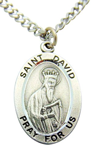 Westman Works St David Solid Pewter One Inch Saint Medal with Stainless Steel ()