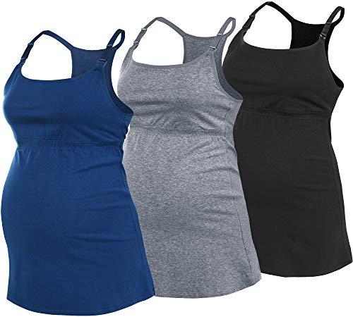 SUIEK Women's Nursing Tanks Maternity Tops Racerback Breastfeeding Cami Bra Shirt