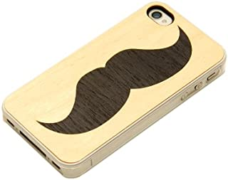 product image for CARVED Clear Maple Wood Case for iPhone 4/4S - Handlebar Mustache (CC1-HBMUSTACHE)