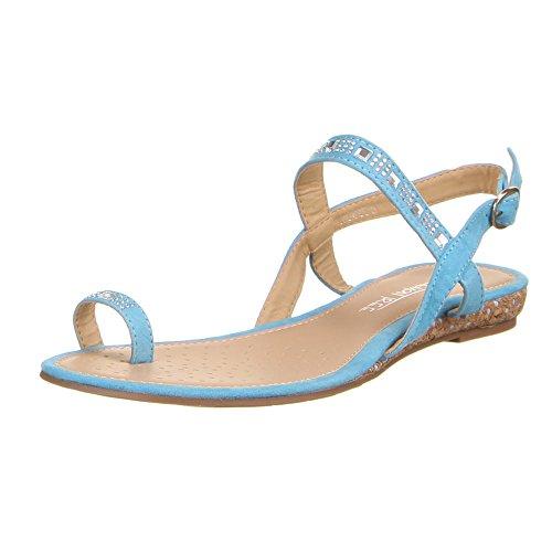 Womens shoes, sandals, AG4008 Rhinestone Decorative strap flip flops Blue - Light Blue