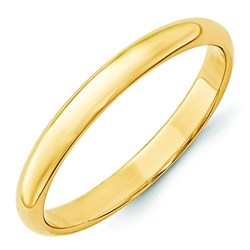 14K Yellow Gold 3mm Lightweight Half Round Domed Comfort Fit Wedding Band