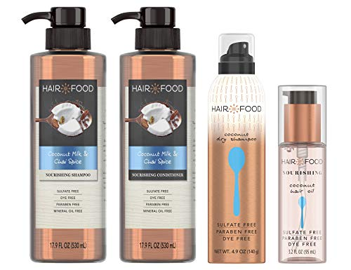 Hair Food Sulfate Free Shampoo, Conditioner, Dry Shampoo and Hair Oil Kit, Bundle Pack