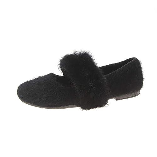 Mocasines para Mujer Pisos De Invierno Hechos A Mano Slip-On Punta Redonda Pluma DecoracióN CáLido Flock Zapatos De Plumas: Amazon.es: Zapatos y ...