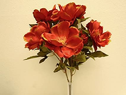 Amazoncom Orange Magnolia Bush Artificial Satin Flowers 22