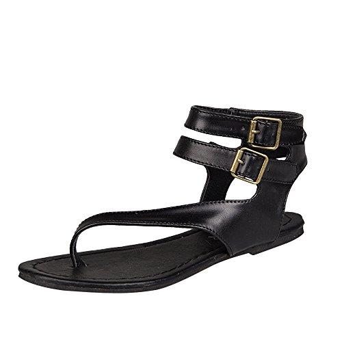 POHOK Women Summer Strappy Gladiator Low Flat Heel Flip Flops Beach Sandals Shoes(41,Black) ()